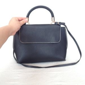 Black/Gold Satchel with handle and strap